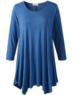Lanmo Women Plus Size 3/4 Sleeve Tunic Tops Loose Basic S... https://www.amazon.com/dp/B01MAWBQXH/ref=cm_sw_r_pi_dp_x_eO2qybJH1Q6GB