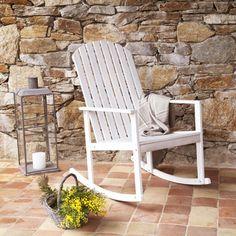 Rocking chair fauteuil à bascule en acacia blanc Longrock