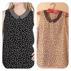 Passport Polka Dot Tank Top, Cream/Black L Cream/Black polka dotted chiffon tank with beaded mesh collar. 100% Polyester. Excellent condition! Size L Passport Tops Tank Tops