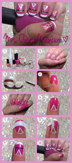 Make a pretty pink Mrs. Claus nail design!