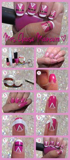 Make a pretty pink Mrs. Claus nail design!