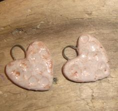 Charm set - Ceramic - Vanilla Creme - Hearts - Perfect for Earrings- Earthy, Rustic, Organic - Handcrafted Art Beads   C41