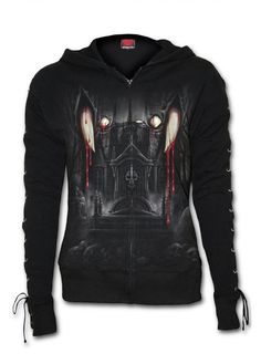 Spiral Direct Vamp Fangs Lace-Up Zip Hoody   Attitude Clothing