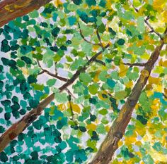 Abstract  Forest Looking Up, Contemporary acrylic painting Autumn Natural Organic Art 72x36x1.6