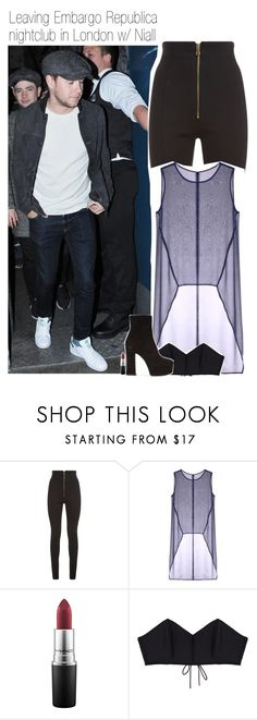 """""""Leaving Embargo Republica nightclub in London w/ Niall"""" by amberamelia-123 ❤ liked on Polyvore featuring Balmain, Taylor, MAC Cosmetics, Fleur du Mal and Yves Saint Laurent"""