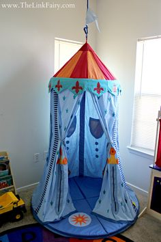 I set out on a mission to create the perfect play space for my kids. Take a look at the products I used and the final project! This Knights Hanging Tent from @HabaUSA is my favorite part of our new play room! #DIY #habausa
