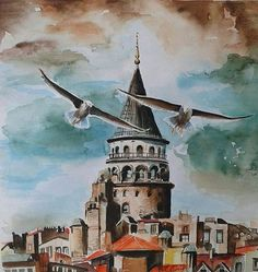 Meral Meri : Meral Meri ~ Maviler ve Yeşiller Art Watercolor, Watercolor Landscape, Watercolor Illustration, Pictures To Paint, Art Pictures, Turkish Art, Urban Sketching, Islamic Art, Art Oil