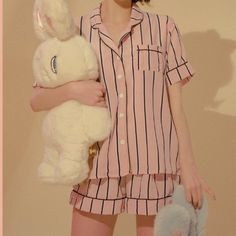 chuu pajama set of stripe top+ striped bottoms + striped hair band. super cute and popular in korea! you get all 3 items!!! price is firmmm mixxmix stylenanda yesstyle 66girls kfashion cfashion dollskill unif lazy oaf brandy meville korean chinese - Depop