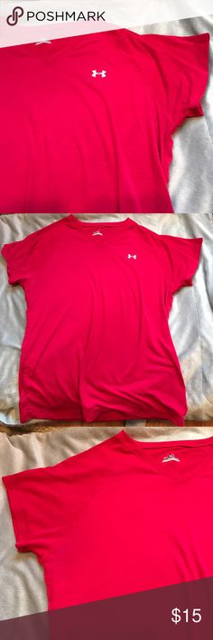 Red under armour top V neck, like new, red. Size women's small.  95% polyester, 5% elastane. Under Armour Tops Tees - Short Sleeve