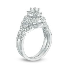 0.69 CT. T.W. Diamond Double Frame Twist Bridal Set in 10K White Gold | View All Wedding | Wedding | Peoples Jewellers