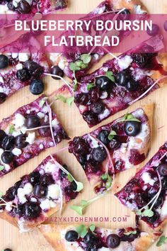 A sweet, tart, and savory flatbread that is ready in minutes using store-bought ingredients. Serve it as an appetizer or dessert. One Bite Appetizers, Easy Appetizer Recipes, Appetizers For Party, Brunch Recipes, Breakfast Recipes, Great Recipes, Favorite Recipes, Recipe Ideas, Easy Recipes