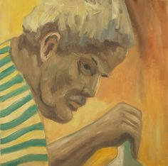 "Jussi Vaarala: "" The more realism and ethics, the better"": Man with greenstriped shirt, 40x40 cm"