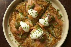 Rosti with Gravlax, Caper Berries and Horseradish Cream Recipe on Food52 recipe on Food52