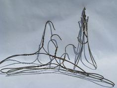 Photo of lot antique vintage heavy wire clothes / coat hangers, folding hanger  #1