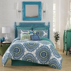 Create a Boho-chic vibe in your bedroom with the Anthology Bungalow Reversible Comforter Set in Teal. The collection takes Bohemian flair and gives it a contemporary twist in super soft, 100% cotton sateen and a stylish color palette of teal and green.