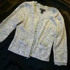 White House Black Market sequin cardigan White House Black Market sequin cardigan silver with sheer trim in great condition White House Black Market Jackets & Coats