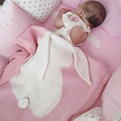 Magnifique Couverture lapin tricotée pour nouveau-né / enfant Ultra-douce
