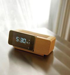 wooden alarm dock