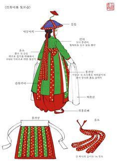 연화대 동기복식 (2) Korean Hanbok, Korean Dress, Korean Outfits, Korean Traditional Dress, Traditional Fashion, Traditional Dresses, Historical Hairstyles, Learn Korean, Korean Art