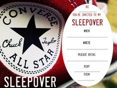 INVITATIONS FOR SLEEPOVER PARTY converse for boys and girls
