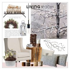 """Winter living room"" by danielfrompoland on Polyvore featuring interior, interiors, interior design, home, home decor, interior decorating, Privilege, Pottery Barn, H. Skjalm P. and Kurt Adler"