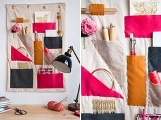 30 Clever DIY Project Ideas and Tutorials to Keep Your Desk Organized Diy Organizer, Wall Pocket Organizer, Desk Organization Diy, Diy Desk, Fabric Organizer, Organizing, Office Party Decorations, Desk Decorations, Office Themes