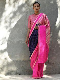 Navy Blue Pink Navy Handwoven Silk Saree
