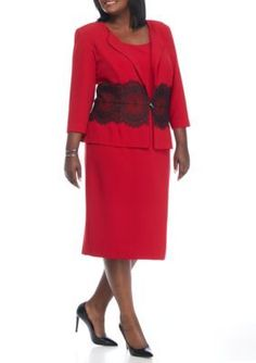 Danny  Nicole  Plus Size Crepe Jacket Dress with Lace