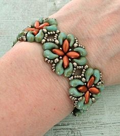 Linda's Crafty Inspirations: Bracelet of the Day: For Your Eyes Only - Turquoise & Copper #beadedjewelry