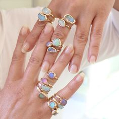 Raw Opal Ring, Raw Stone Ring, Gift For Her, Stackable Gemstone Ring, Solitaire Ring, Australian Opal Ring, Unique Design By Inbal Mishan.  Delicate