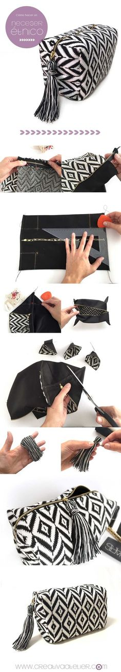 Pasa paso para confeccionar un neceser étnico DIY . Ethnic Pouch Pasa paso para confeccionar un neceser étnico DIY . Sewing Hacks, Sewing Tutorials, Sewing Crafts, Sewing Projects, Sewing Patterns, Sewing Ideas, Diy Projects, Do It Yourself Mode, Diy Pochette