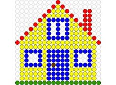 Kralenplank Huis 1 Lego, Create And Craft, Fuse Beads, Nursery Art, Pixel Art, Art For Kids, Activities For Kids, Triangle, Pattern