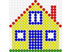 Kralenplank Huis 1 Fuse Beads, Perler Beads, Create And Craft, Nursery Art, Pixel Art, Retro, Art For Kids, Activities For Kids, Triangle
