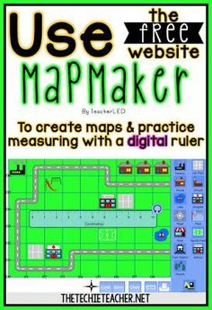 Use the free website, Mapmaker, to create maps and practice measuring with a digital ruler. Map Activities, Social Studies Activities, Teaching Social Studies, Teaching Math, Teaching Map Skills, Learning Maps, Dinosaur Activities, Project Based Learning, 3rd Grade Social Studies