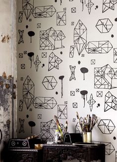 Random Geometry Wallpaper Designs For Modern Interior Decoration - Stuning Idea for Interior Design, Home Decorators and Life Style B&w Wallpaper, Eclectic Wallpaper, Geometric Wallpaper, Graphic Wallpaper, White Wallpaper, Modern Wallpaper, Wallpaper Designs, Pattern Wallpaper, Temporary Wallpaper