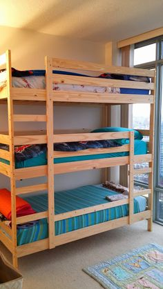 **maybe use parts to make 3 staggered** Mydal triple bunk Ikea Mydal, Cama Ikea, Tripple Bunk Bed, Triple Bunk, Kids Bed Design, Home Room Design, Adult Bunk Beds, Kids Bunk Beds, Home Decor Bedroom