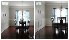 would love to do this in our dining room one day... DIY Wainscoting Tutorial. // my mom and dad did this in their half bathroom and it looks sooo good. -smy