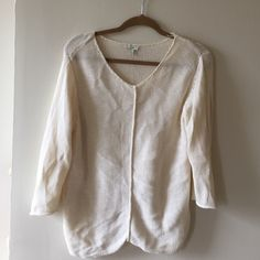 J.jill knit sweater size L Cream/white, soft knit sweater, worn once-- like new, j.jill size large J. Jill Sweaters Crew & Scoop Necks