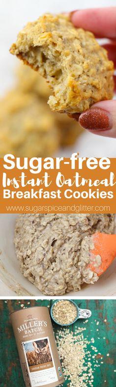 Instant Oatmeal Cookies, Oatmeal Breakfast Cookies, Breakfast Cookie Recipe, Healthy Oatmeal Cookies, Healthy Breakfast Muffins, Delicious Cookie Recipes, Breakfast For Kids, Breakfast Club, Healthy Breakfasts