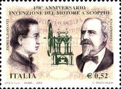 2003 - 150° anniversario dell'Invenzione del motore a scoppio - in primo piano, a sinistra Padre Eugenio Barsanti, a destra Felice Matteucci, inventori del motore a scoppio e al centro è rappresentato il motore bicilindrico costruito dall'Officina Pietro Benini di Firenze