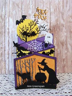 Ann Greenspan's Crafts: Cascading Halloween A2 Card Tutorial More