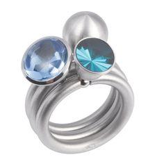 www.ORRO.co.uk - Pur Swivel - Aquamarine Halbschale Ring Set - ORRO Jewellery Glasgow