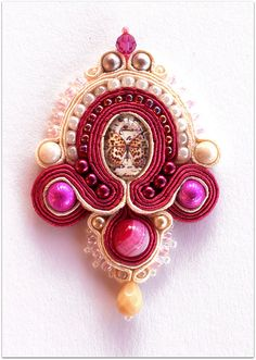 BUTTERFLY brooch, Fuchsia & Cream soutache brooch, HANDICRAFT