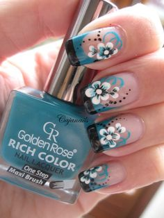 Nail art: Double colored French tip with flower by Cajanails Check out the video here-->http://youtu.be/d9BEt4YYtAE