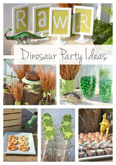 Dino-mite is the best way to describe this dinosaur birthday party. Some say parties on a budget are impossible but Julie at A Reason to Get Together scoffs at that notion. She was able to pull this adorable and plentiful party together for a six year old boy on a fairly tight budget... #dinosaur
