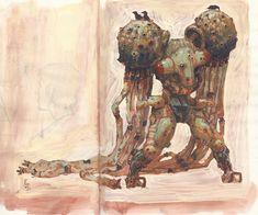 , Edward Delandre : quick gouache paintings on moleskine sketchbook Monster Design, Robot Design, Cyberpunk, Character Art, Character Design, Moleskine Sketchbook, Sketchbooks, Robots Characters, Robot Concept Art