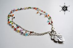 Multicolor beaded necklace, raindrops long necklace, short necklace
