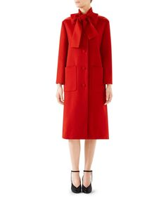 289300795 Gucci Single-Breasted Bow-Neck Wool Coat   Neiman Marcus Personal Stylist,  Bergdorf