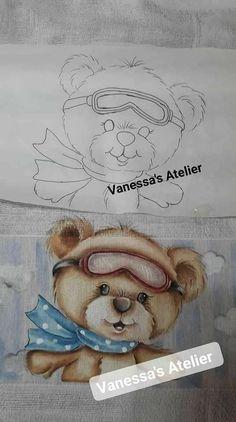 Cute Bear Drawings, Baby Art, Cute Bears, Fabric Painting, Diy And Crafts, Teddy Bear, Animals, Color, Maui