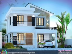 3 bedroom slanting roof mix 1750 square feet double storied house plan by Dream Form from Kerala.ft beautiful modern home design 3 Storey House Design, Two Story House Design, Bungalow House Design, Small House Design, Modern House Design, Beautiful Modern Homes, Home Modern, Modern Home Exteriors, Beautiful House Plans